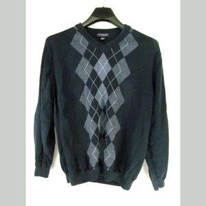 Roundtree & Yorke Men's Sweater Size L Blue Argyle